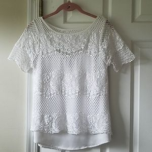 WHBM lace overlay top. Sz. XS